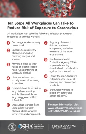 Free Health OSHA 10 Steps To Reduce Coronavirus Exposure Risk PDF