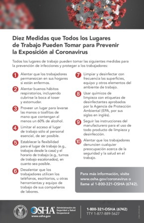 Free Health OSHA 10 Steps To Reduce Coronavirus Exposure Risk (Spanish) PDF