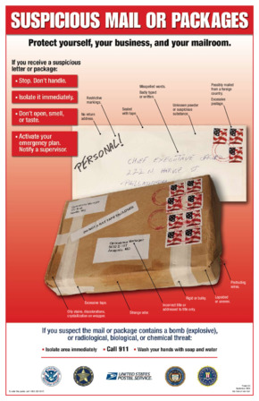 Free Federal DHS Suspicious Mail or Package Poster PDF