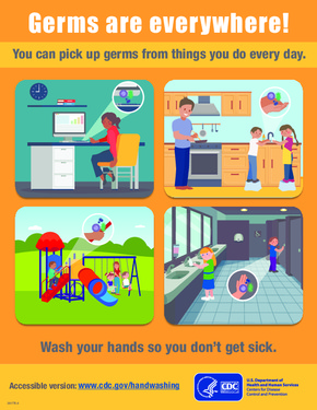 Free Health CDC Germs Are Everywhere Handwashing Poster PDF