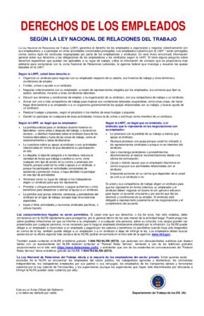 Free Federal Employee Rights under the National Labor Relations Act (Spanish) PDF