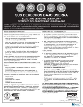 Free Federal Your Rights Under USERRA (Spanish) PDF (Workers Rights Law Poster)