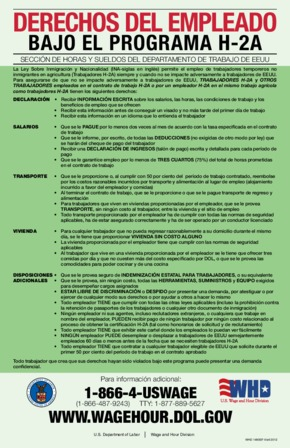 Free Federal Employee Rights Under The H-2A Program (Spanish) PDF