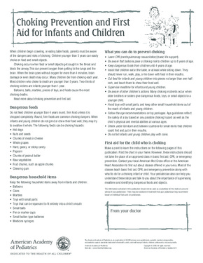 Free First Aid Choking & CPR Poster for Infants and Children  PDF
