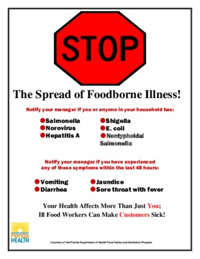 Free Florida Stop the Spread of Foodborne Illness PDF (Health Notice Poster)