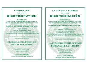 Free Florida Florida Law Prohibits Discrimination Poster PDF (Equal Opportunity Law Poster)