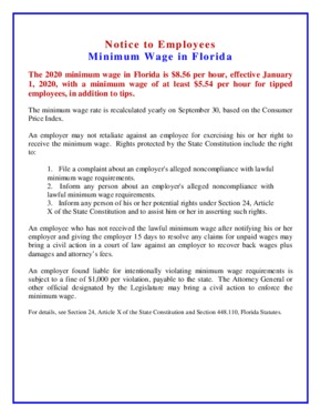 Free Florida Minimum Wage Poster PDF (Minimum Wage Law Poster)