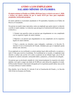 Free Florida Minimum Wage Poster (Spanish) PDF (Minimum Wage Law Poster)