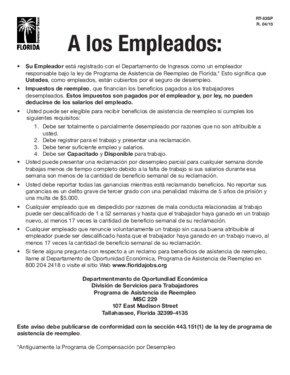 Free Florida RT-83 Florida Reemployment Assistance Program Law (Spanish) PDF (Miscellaneous Law Poster)