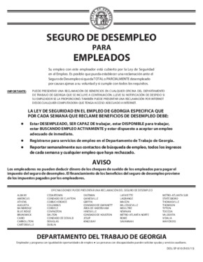 Free Georgia Unemployment Insurance for Employees (Spanish) PDF (Unemployment Law Poster)