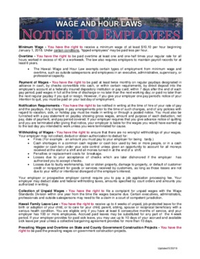Free Hawaii Wage and Hour Law PDF (General Labor Law Poster Poster)