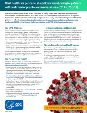 Free Health What healthcare personnel should know about caring for patients with confirmed or possible coronavirus disease 2019 PDF