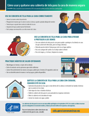 Free Health How to Safely Wear and Take Off a Cloth Face Covering (Spanish) PDF