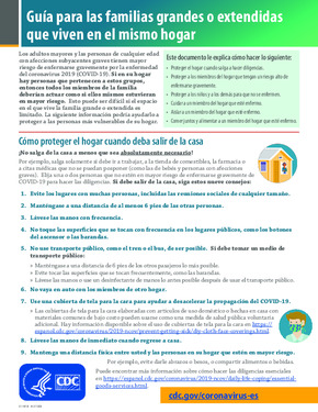 Free Health Guidance for Large or Extended Families Living in the Same Household (Spanish) PDF