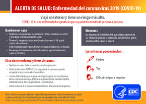 Free Health Traveler Health Alert Notice - International Travel (Spanish) PDF