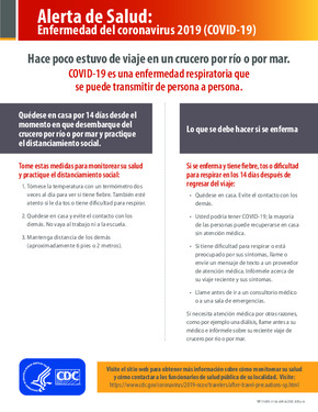 Free Health Traveler Health Alert Notice - Cruise Ship (Spanish) PDF