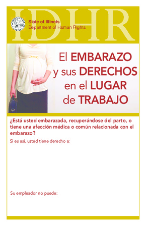 Free Illinois Pregnancy In The Workplace - Illinois HRA (El EMBARAZO y sus DERECHOS en el LUGAR de TRABAJO) (Spanish) PDF