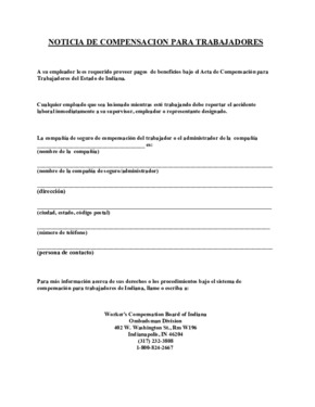 Free Indiana Workers Compensation Poster (Spanish) PDF (Workers Compensation Law Poster)