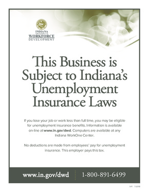 Free Indiana Unemployment Insurance Poster PDF (Unemployment Law Poster)