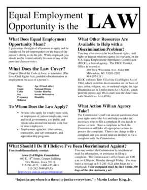 Free Iowa Equal Employment Opportunity is the Law Poster PDF (General Labor Law Poster Poster)