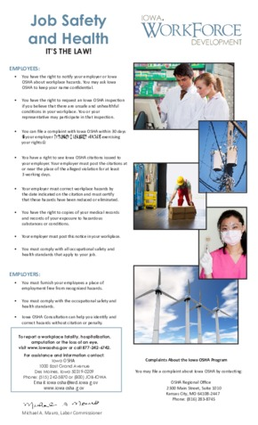 Free Iowa Safety & Health Protection on the Job PDF (Job Safety Law Poster)