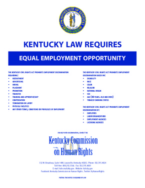 Free Kentucky Equal Employment Opportunity PDF (Equal Opportunity Law Poster)