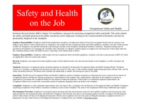 Free Kentucky Safety and Health on the Job PDF (Job Safety Law Poster)