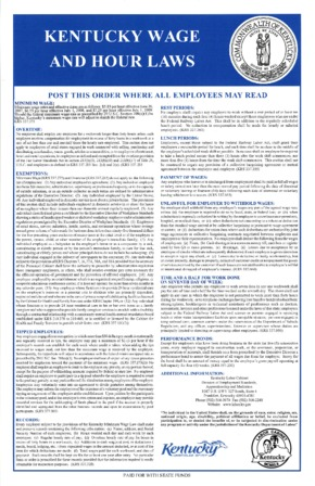 Free Kentucky Wage and Hour PDF (General Labor Law Poster Poster)