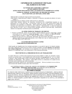 Free Kentucky Unemployment Insurance Benefits (Spanish) PDF (Unemployment Law Poster)