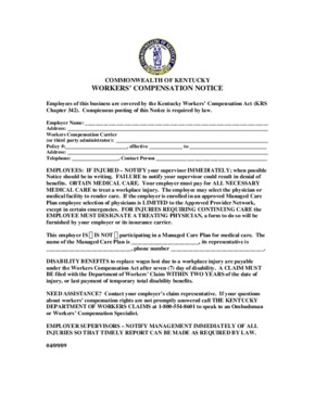 Free Kentucky Workers' Compensation Posting Notice PDF (Workers Compensation Law Poster)