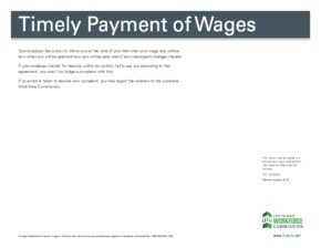 Free Louisiana Timely Payment of Wages PDF (General Labor Law Poster Poster)