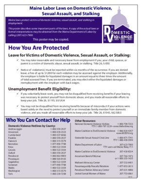 Free Maine Domestic Violence in the Workplace Poster PDF