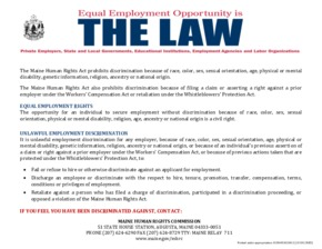 Free Maine Maine Human Rights Act - Equal Employment Rights PDF (Equal Opportunity Law Poster)
