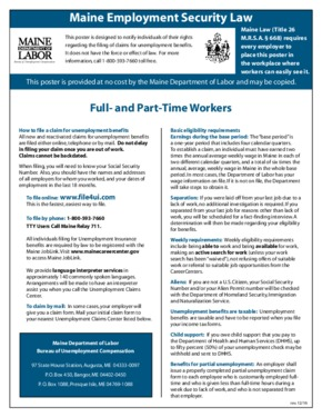 Free Maine Maine Employment Security Act Poster PDF (Unemployment Law Poster)