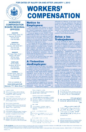 Free Maine Workers' Compensation Poster PDF (Workers Compensation Law Poster)