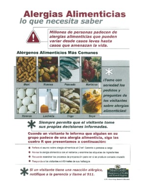 Free Maryland Maryland Food Allergy Poster (Alergias Alimenticias​) (Spanish) PDF (Food Service Poster)