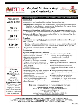 Maryland Minimum Wage and Overtime Law  PDF