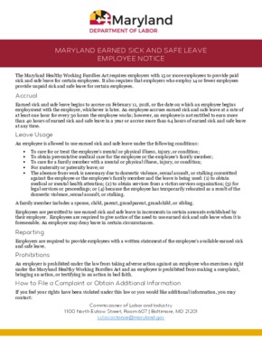 Free Maryland Maryland Earned Sick and Paid Leave Notice PDF (Sick Leave Law Poster)