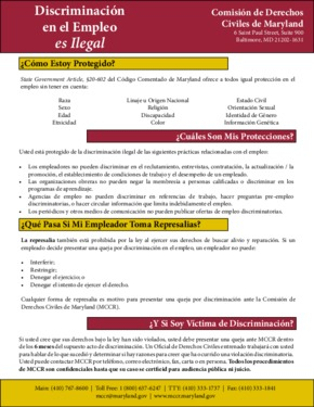 Employment Discrimination is Unlawful (Spanish Poster-Color) PDF