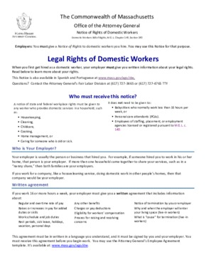 Free Massachusetts Legal Rights of Domestic Workers PDF
