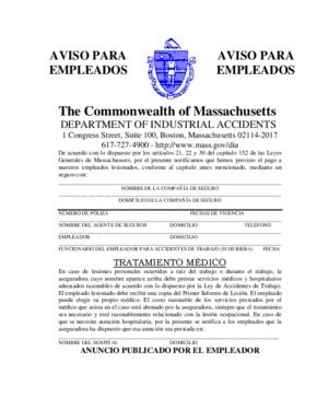 Free Massachusetts Workers' Compensation Poster (Spanish) PDF