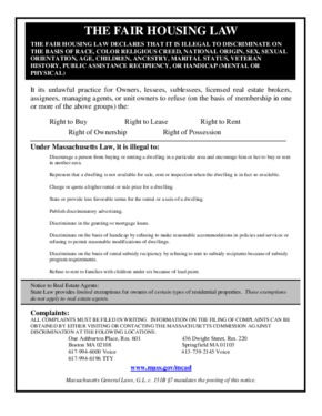 Free Massachusetts Fair Housing Law Poster PDF