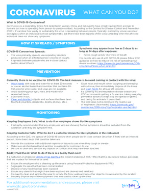 Free Michigan Coronavirus - What Can You Do?  PDF (Health Notice Poster)