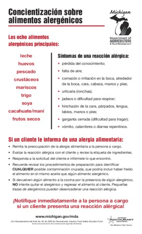 Free Michigan Michigan Food Allergy Awareness (Concientización sobre alimentos alergénicos) (Spanish) PDF (Health Notice Poster)