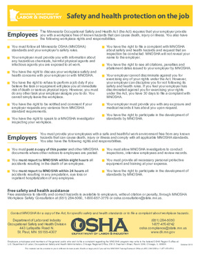 Free Minnesota Safety and Health on the Job PDF (Job Safety Law Poster)