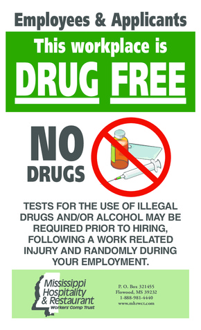 Free Mississippi Drug Free Workplace Poster PDF (Food Service Poster)