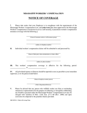 Mississippi Workers' Compensation Poster PDF