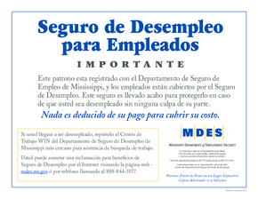 Free Mississippi Unemployment Insurance Poster (Spanish) PDF