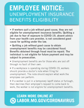 Free Missouri Coronavirus Employee Notice: Unemployment Insurance Benefits Eligibility PDF (Coronavirus Notice Poster)
