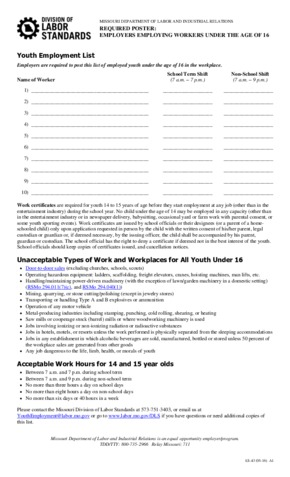 Free Missouri Employer's Employing Workers Under the Age of 16 List PDF